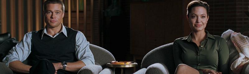 Герои Брэда Питта и Анджелины Джоли на приеме у психолога. Кадр из фильма «Мистер и миссис Смит»